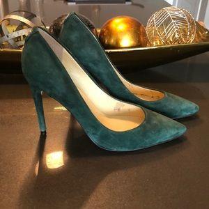 Elegant Emerald Green Suede Heels